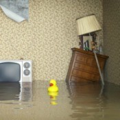 Water Damaged Wood Furniture in Flooded Room