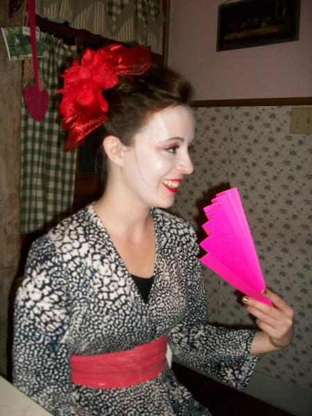An adult geisha costume for Halloween.
