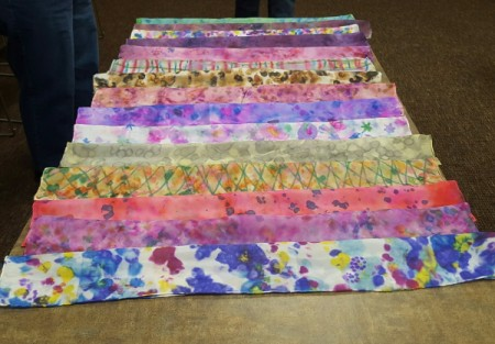 an array of finished scarves