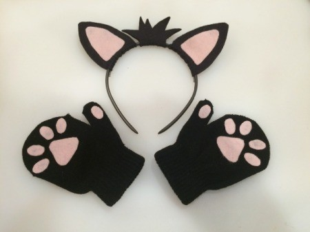 Felt Kitty Tail and Paws