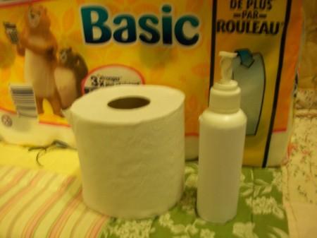 A spray bottle for moistening toilet paper