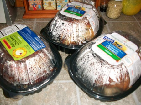 Three rotisserie chickens from the supermarket.