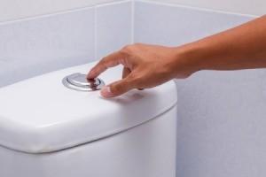 flushing a toilet