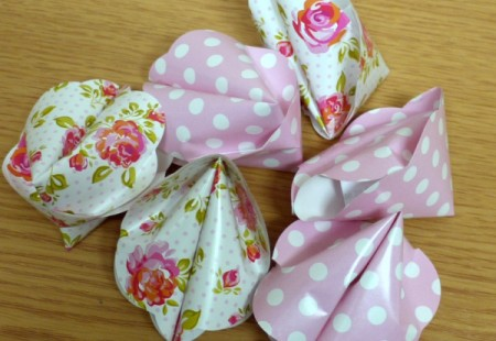 pink polka dot and floral paper fortune cookies