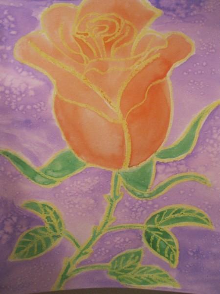 Rose Watercolor Resist Painting