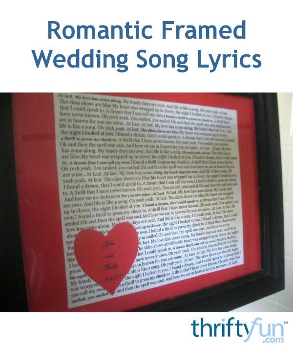 Story Most Romantic Wedding Songs: Romantic Framed Wedding Song Lyrics