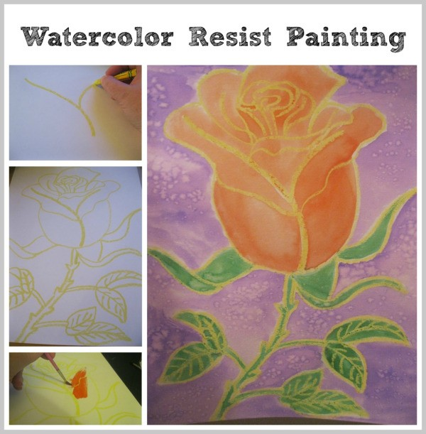 watercolor resist painting thriftyfun