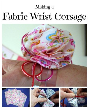 closeup of floral wrist corsage