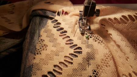 Lengthening a Dress - sewing the lace on