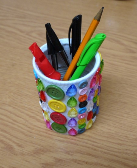 Button and Jewel Pencil Pot