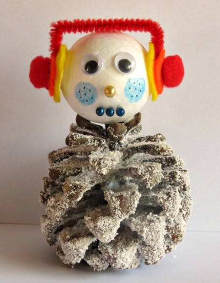Frosted Pine Cone Snowman Craft
