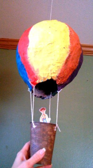 The completed hot air balloon.