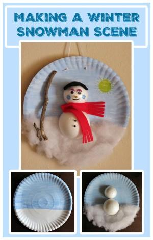 Making a Winter Snowman Scene