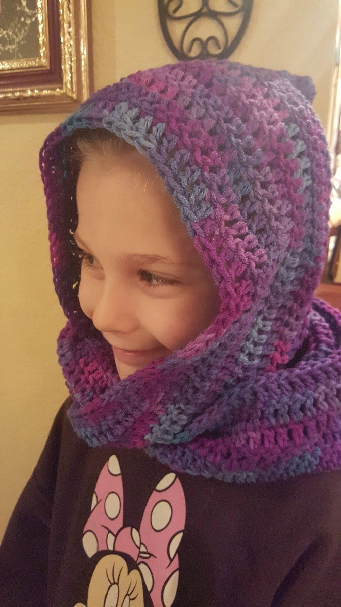 Making A Crocheted Hooded Scarf Thriftyfun