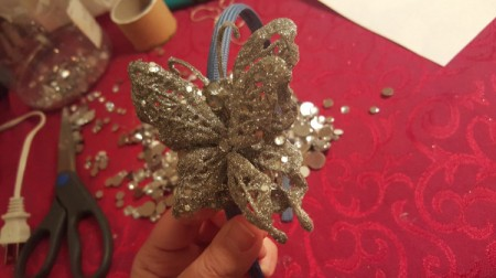 Dollar Store Decorated Headband - assembling the headband