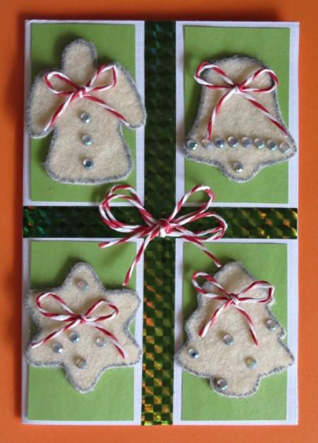 Christmas card with four felt sugar cookies