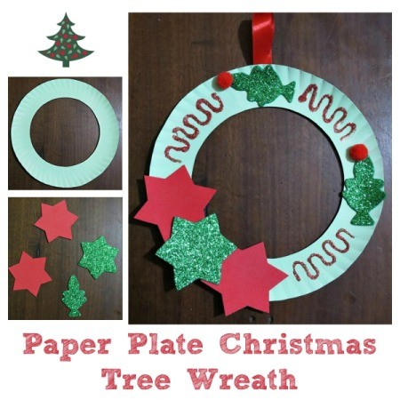 Making a Paper Plate Christmas Tree Wreath