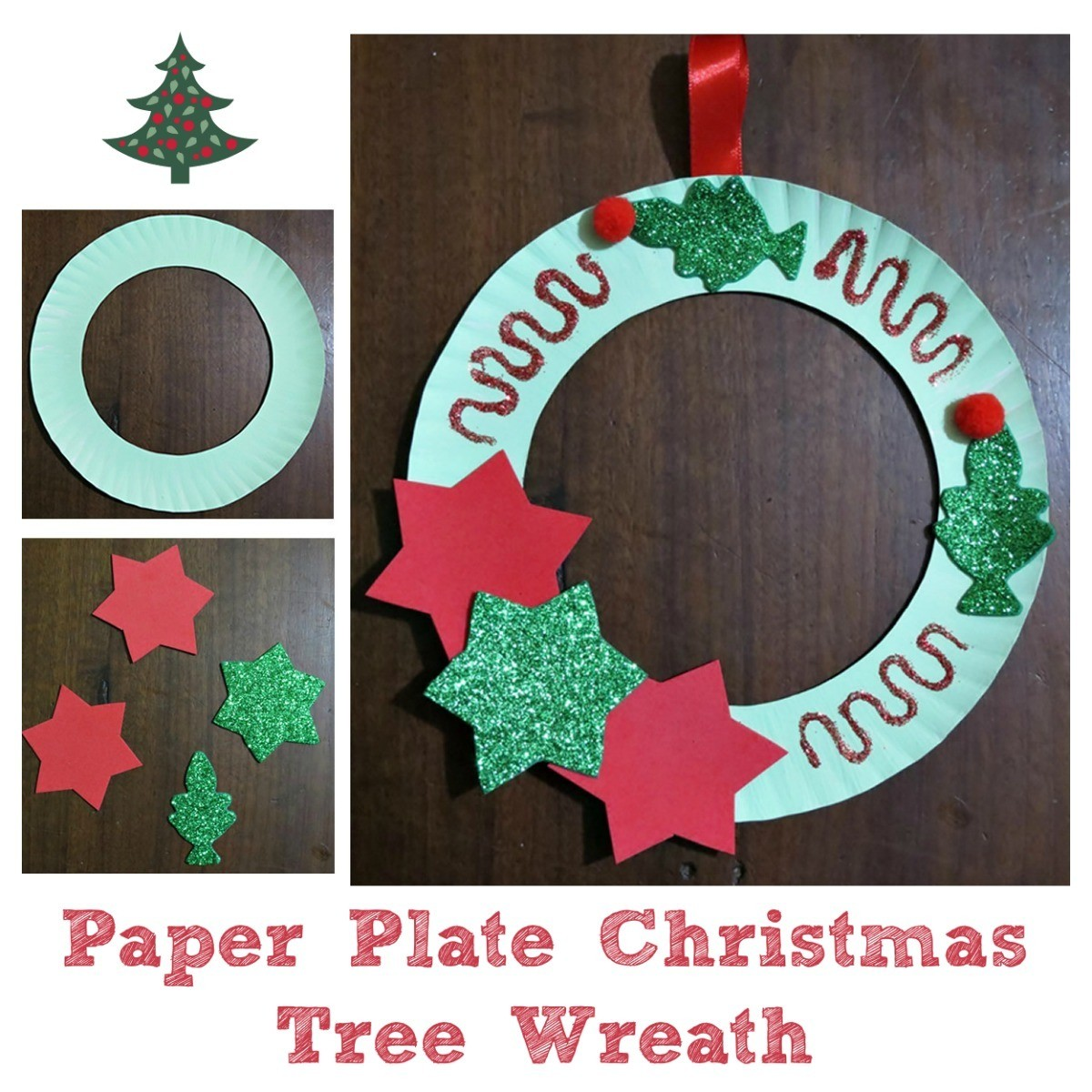 Paper Christmas Wreath Designs.Making A Paper Plate Christmas Tree Wreath Thriftyfun