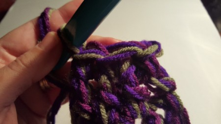 Thick Crocheted Slippers - Work 3 sc through both thicknesses, and fasten off.
