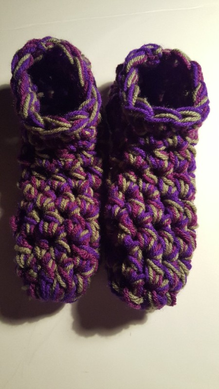 Thick Crocheted Slippers - top down view of finished slippers
