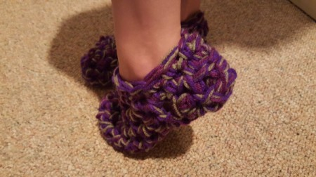 Thick Crocheted Slippers - on child's foot
