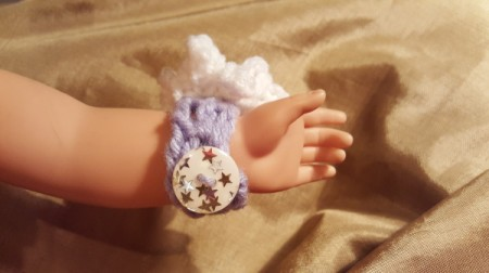 Crocheted Wrist Corsage for American Girl Doll - in process