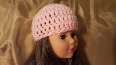 Crocheted Beanie Hat for American Girl Doll - finished hat on a doll
