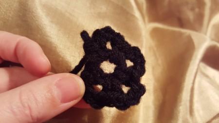 Crochet Shell Flower - in process