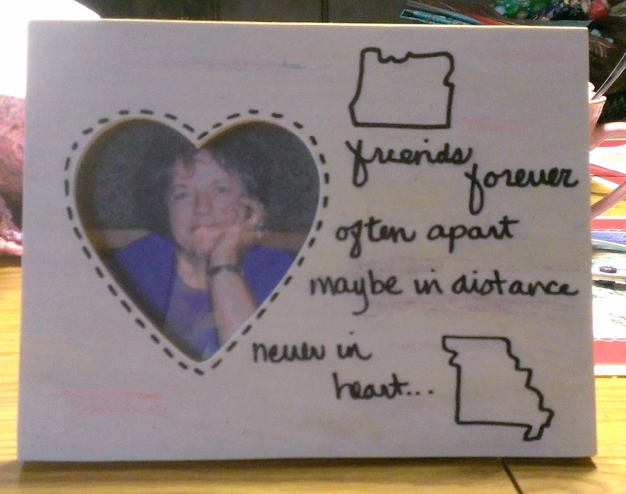 A Wooden Frame With Heart Shaped Opening Decorated Two State Outlines And