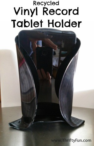 Making a Recycled Vinyl Record Tablet Holder