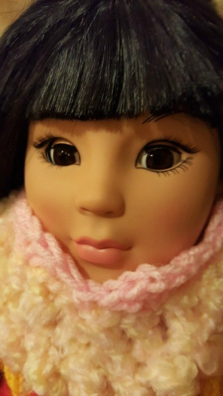 Crocheted Wrist Corsage for American Girl Doll - closeup of cowl on doll