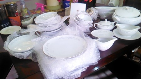 white china with small floral design