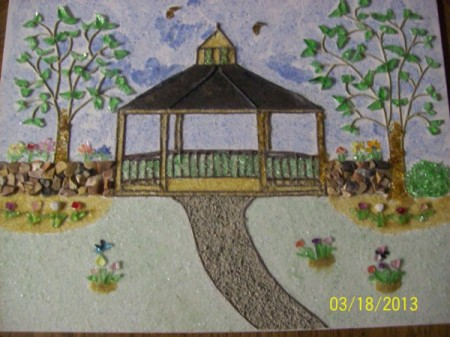 A gazebo scene made from powdered glass.