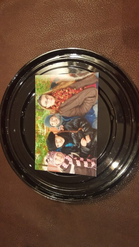 photo glued to center of platter