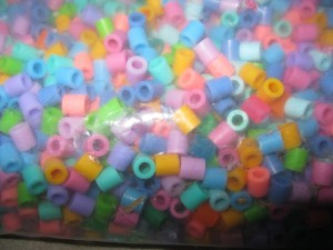 Melted Perler Beads - beads in bag prior to melting