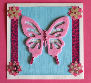 pink and butterfly themed birthday card