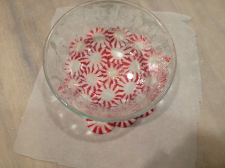 Peppermint Candy Bowls - place bowl over candies and center