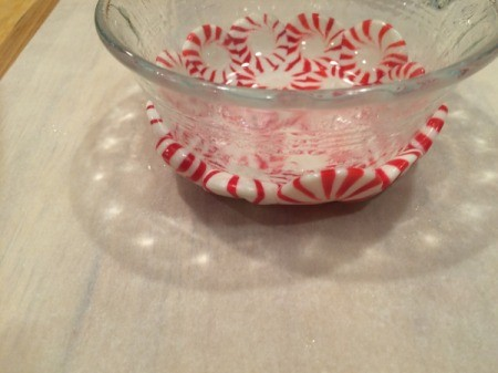 Peppermint Candy Bowls - invert bowl right side up