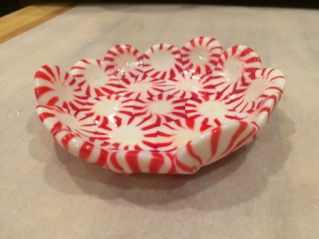Peppermint Candy Bowls - carefully remove glass bowl from candy bowl, wipe off any excess cooking spray