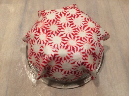 Peppermint Candy Bowls - larger candy bowl still on glass bowl mold