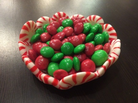 Peppermint Candy Bowls - add candies to peppermint candy bowl