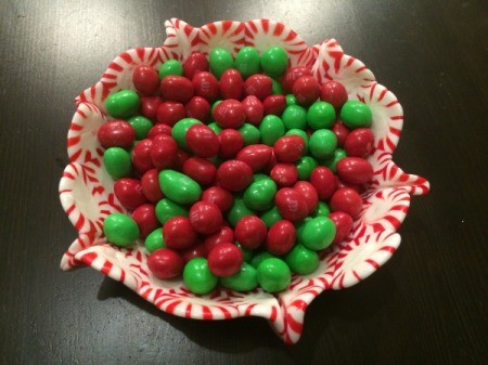 Peppermint Candy Bowls - larger bowl filled with red and green holiday candy