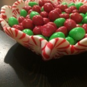 Peppermint Candy Bowls - edge view of larger crimped bowl