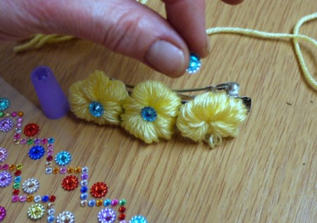 Yarn Flower Hair Clip - glue beads in center of flowers