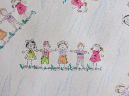 Colorful Children's Birthday Gift Wrap - image of children holding hands