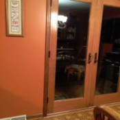 french doors and pumpkin walls