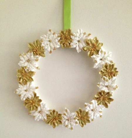 Paper Poinsettias Wreath