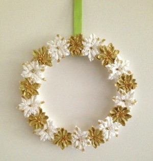 Paper Poinsettias Wreath