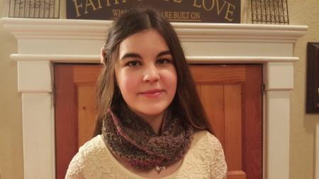 teen wearing scarf