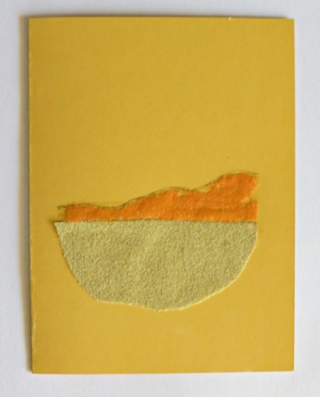 Desert Inspired Birthday Card - first dune drawn and orange sand applied to a layer of glue